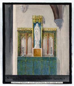 Image with blue and green and a white statue