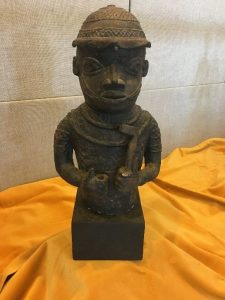 Small reproduction statue of a Benin Courtier from the waist up