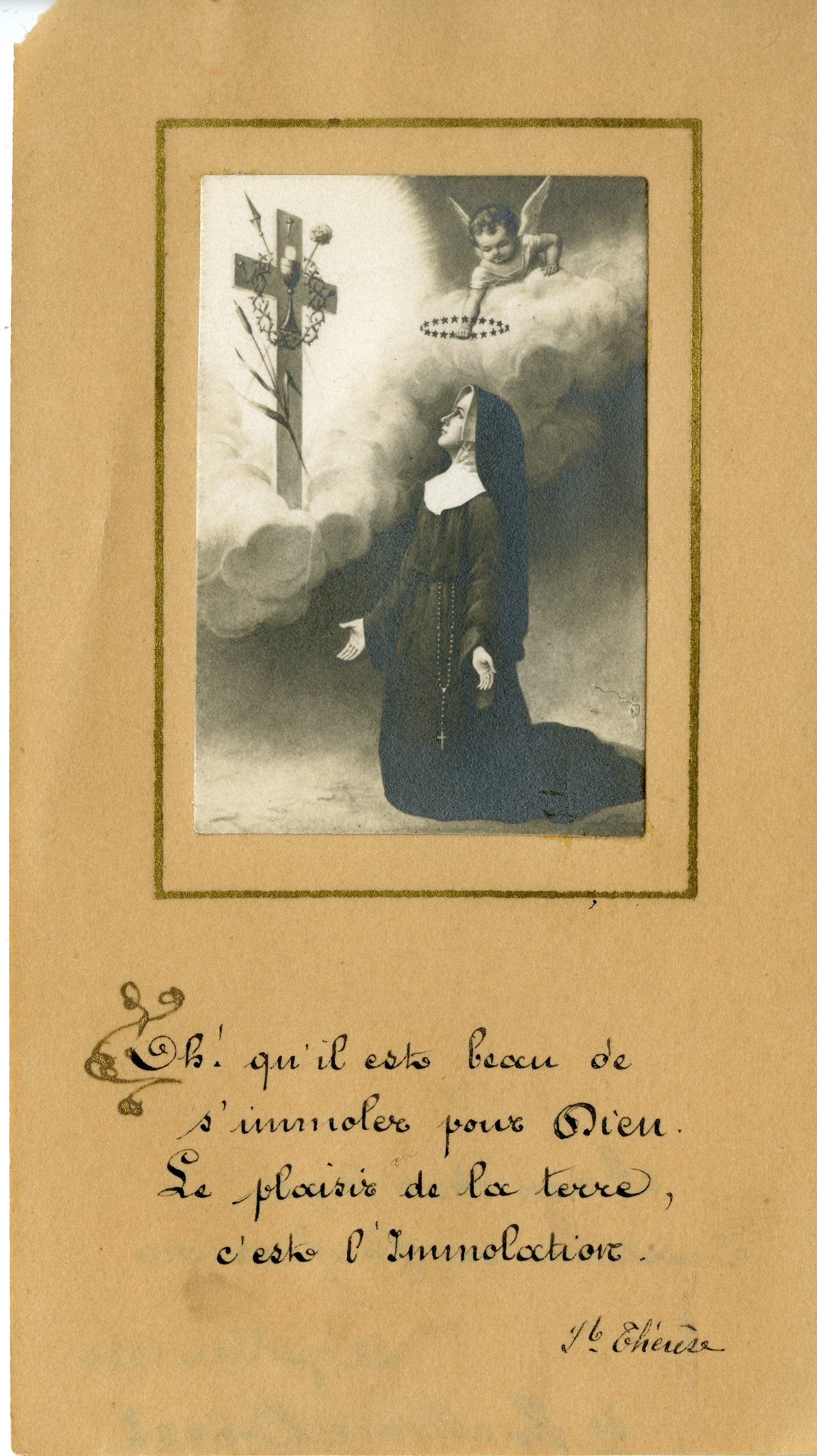 Nun with cross profession holy card Treasures of the