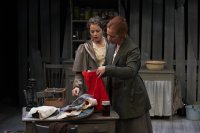 Kaylee Harwood as Mrs. Peters and Julain Molnar as Mrs. Hale in Trifles. Photo by Michael Cooper.