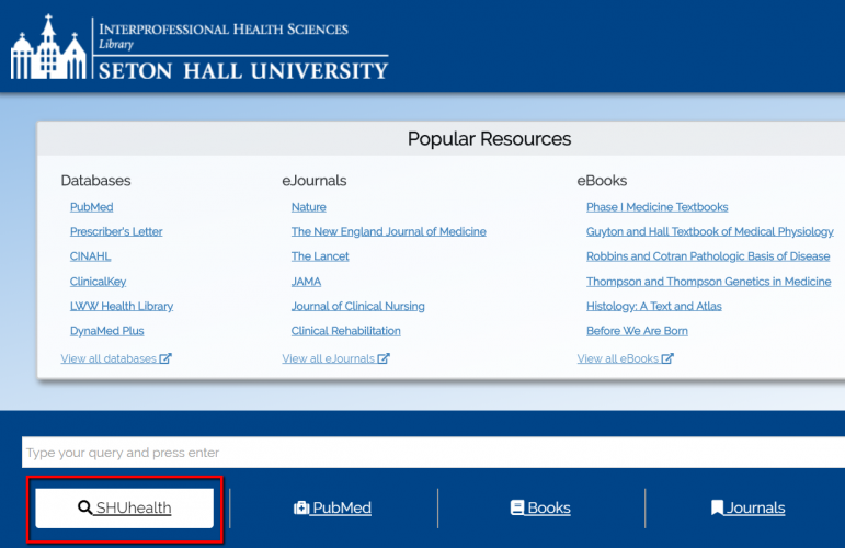 You can search SHUhealth from the library homepage