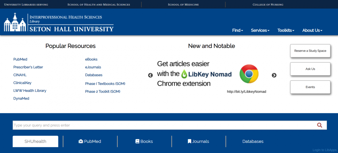the redesigned library homepage