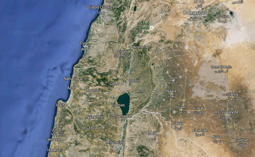 Israel and Syria, with the Golan Heights in-between
