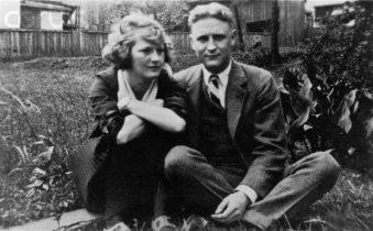 1919, Near Montgomery, Alabama. Zelda Sayre and F. Scott Fitzgerald in the Sayre home in Montgomery, Alabama, in 1919.