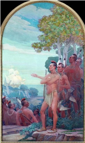 """WPA mural """"Henry Hudson Anchors off 'Staaten Eeylandt', 1609"""""""