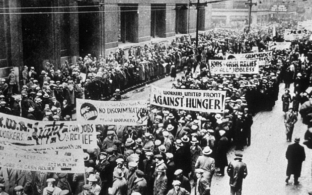 RETROSPECTIVE  ON THE 1929  WALL STREET STOCK MARKET CRASH,  NEW YORK,  AMERICA...Mandatory Credit: Photo by Sipa Press / Rex Features ( 280579a )  WORKERS UNITED FRONT DEMONSTRATION  RETROSPECTIVE  ON THE 1929  WALL STREET STOCK MARKET CRASH,  NEW YORK,  AMERICA