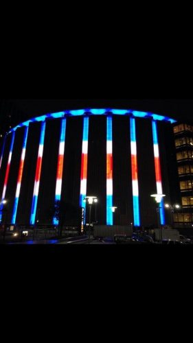A photo of Madison Square Garden following a New York Rangers hockey game in 2016.
