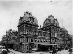 An image of the Grand Central Depot. This image also shows a horse carriage in the front of the building that traveled along the tracks on the ground which was what the NY and Harlem railroad.