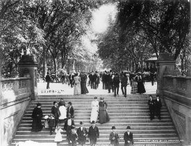 On the Bethesda Terrace of Central Park looking towards the Mall, 1894.