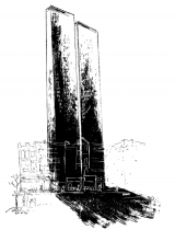 Desmond Smith Preconceived Towers: In 1966, the year the towers started to be built, Desmond Smith wrote an article and included a drawing of what New Yorkers should expect the twin towers to look like. This is a historical photo of a preconceived idea.