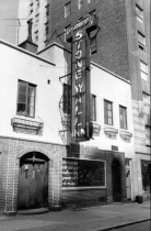 "Stonewall Inn in 1969. It was an open gay bar with a sign on the window that stated, ""We homosexuals plead with our people to please help maintain peaceful and quiet conduct on the streets of the Village."""