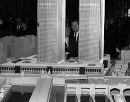 The World Trade Center 1964: New York Governor Nelson Rockefeller examining the first architectural model for the World Trade Center in downtown Manhattan. Minoru Yamasaki, the American architect that was the main architect and biggest influence on the twin's production, is also admiring the beauty of the towers.