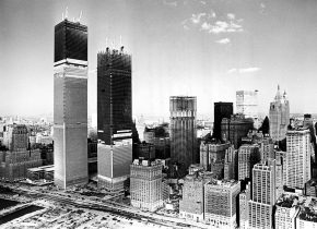The North and South Tower in their final years of construction. The North Tower was always ahead of its twin, which would also be built 6 feet shorter than its older sibling.