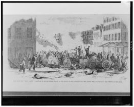 A drawing of the Dead Rabbit barricade on Bayard Street during the fight between the Dead Rabbits and the Bowery Boys.