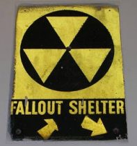 Fallout Shelter signs were posted indoors and outdoors to let people know that these buildings are available for shelter from warfare