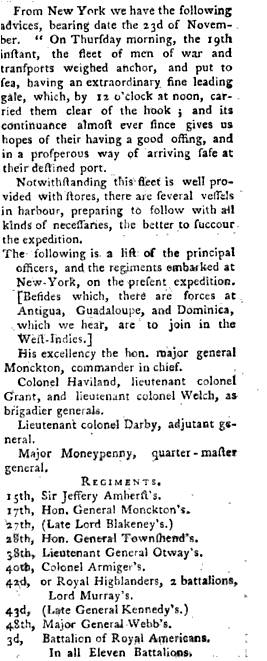 1761 British Magazine report of Monckton's fleet setting sail from Staten Island