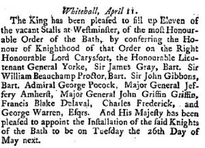 Announcement of the men honored with the Order of the Bath, April11 1761.