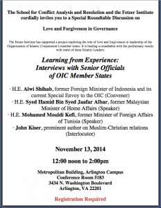 Roundtable Discussion with Prominent Muslim Leaders: Love and Forgiveness in Governance