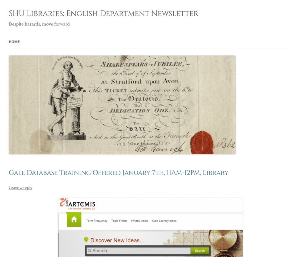 SHU Libraries: English Department Newsletter