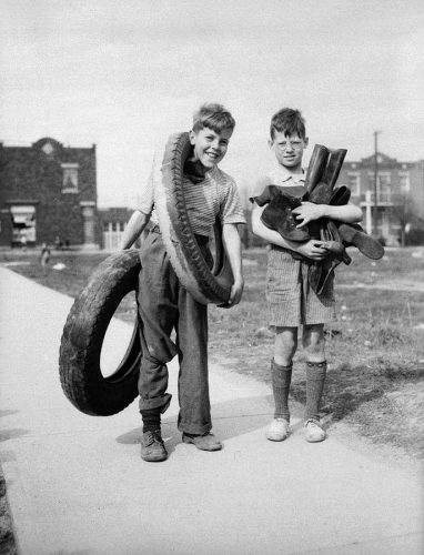 Children collecting rubber to help in the war effort. From Wikimedia Commons.