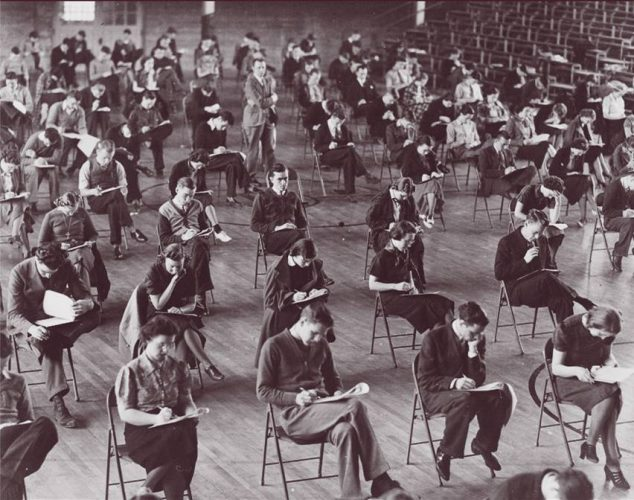College students taking their final exams at Hamline University in Minnesota.