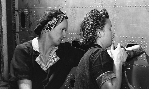 Female riveter aids war production