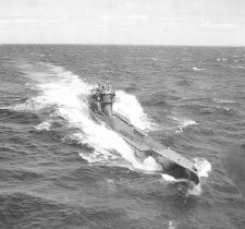 German submarine U-278 in Atlantic waters. From Wikimedia Commons.