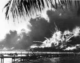 The U.S.S. Shaw exploding during the Pearl Harbor attack. From Library of Congress.