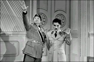 Charlie Chaplin and Jack Oakie while filming The Great Dictator. From Wikimedia Commons
