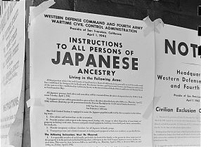 Exclusion Orders posted on walls telling Japanese Americans living in the first San Francisco section to evacuate. From Wikimedia Commons.
