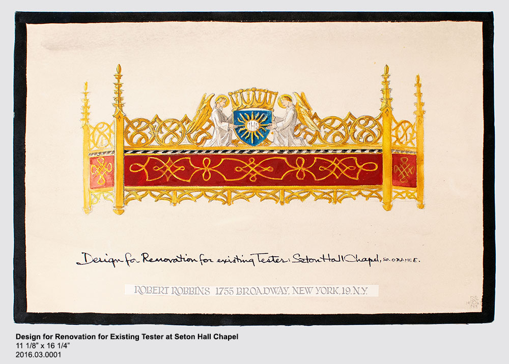 Design for Renovation for Existing Tester at Seton Hall Chapel 11 1/8 inches tall by 16 1/4 inches wide, 2016.03.0001