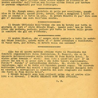 Gossip Sheets for the Order Sons of Italy.