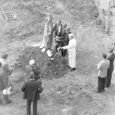 Image of the ground breaking ceremony of Walsh Library.