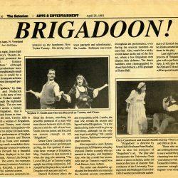 The Setonian, Brigadoon! article, 1991.