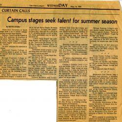 Star Ledger: Campus Seeks Talent article, 1985.