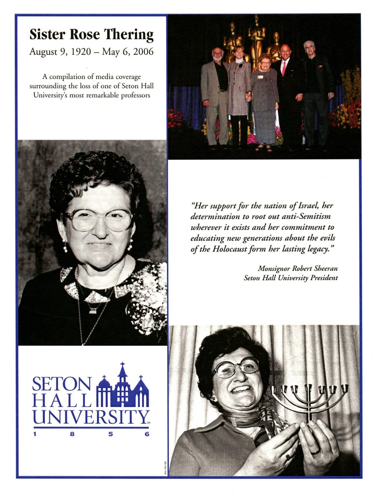 A graphic consisting of images and text honoring and remembering Sister Rose Thering.