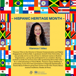 Viannca Velez is the Director of Alumni Communication and Digital Engagement at Seton Hall. A graduate herself of the University, she also proudly serves as the advisor to Adelante Latino/a Student Organization, a group she participated in as a student. Having worked in media for several years after graduating Seton Hall with a B.A. in Broadcasting in Visual Media, Viannca enjoys dabbling in podcasting. In her free time participates in Segunda Quimbamba, a Puerto Rican Folkloric group that carries on the Afro-Puerto Rican musical traditions, Bomba & Plena.