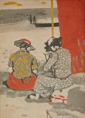 Maurice Brianchon, Conversation à la Plage, c.1951. Gouache, 32 x 23 cm