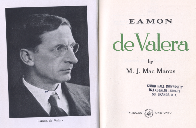 Title Page of Eamon de Valera Biography