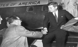 Photo of Governor Richard J. Hughes greeting President John F. Kennedy at Mercer County Airport – Trenton, NJ, c. 1962