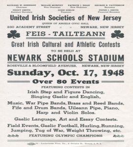 Poster for United Irish Societies of New Jersey