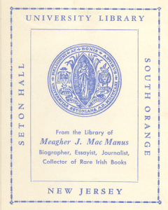 Image of book plate from library of Michael Joseph (Meagher) MacManus