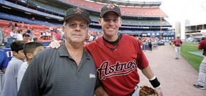 Sept. 7, 2007;  Greg Biggio and the Astros at Shea Stadium with former SHU coach Mike Sheppard.