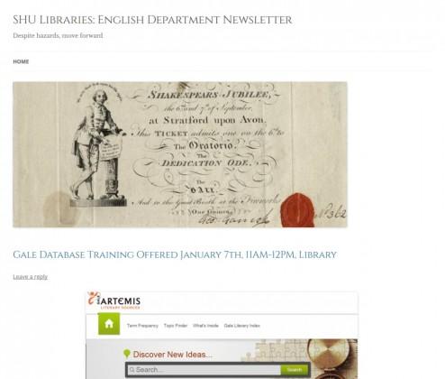SHU Libraries: English Department Newsletter